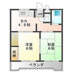 愛知県岡崎市若松東3丁目の賃貸アパートの間取り