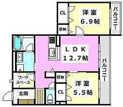 阪急京都本線 南茨木駅 徒歩23分の賃貸マンション 2階2LDKの間取り