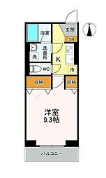 東武伊勢崎線 獨協大学前駅 徒歩7分の賃貸マンション 2階1Kの間取り