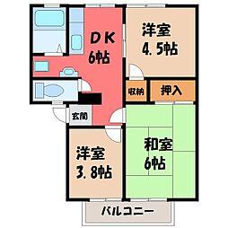 栃木県宇都宮市戸祭町の賃貸アパートの間取り