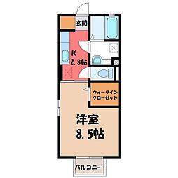 栃木県小山市犬塚1丁目の賃貸アパートの間取り