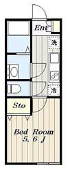 多摩都市モノレール 程久保駅 徒歩11分の賃貸アパート 2階1Kの間取り