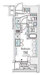SIL西五反田 9階ワンルームの間取り