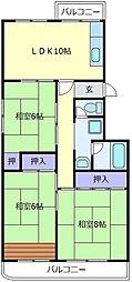 大阪府堺市南区新檜尾台4丁の賃貸マンションの間取り
