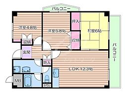 大阪モノレール本線 宇野辺駅 徒歩17分の賃貸マンション 4階3LDKの間取り