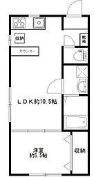 JR南武線 稲城長沼駅 徒歩12分の賃貸アパート 1階1LDKの間取り
