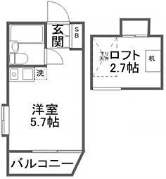 ファンダーシオン東長崎 2階ワンルームの間取り