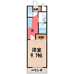 栃木県さくら市草川の賃貸アパートの間取り