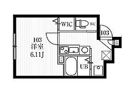 ミハス経堂エステ 1階1Kの間取り