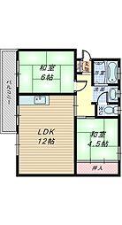 下野池第二住宅6棟[3階]の間取り
