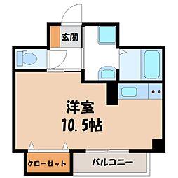 JR東北新幹線 宇都宮駅 徒歩9分の賃貸マンション 5階ワンルームの間取り