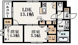 (仮称)矢野口メゾンB 2階2LDKの間取り