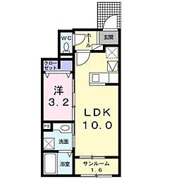 JR東海道本線 豊橋駅 バス16分 佐藤西下車 徒歩3分の賃貸アパート 1階1LDKの間取り