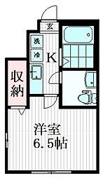 ルクソール狛江 1階1Kの間取り