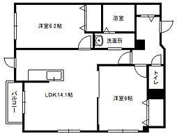 北海道札幌市白石区本通5丁目南の賃貸マンションの間取り