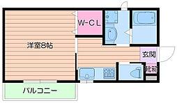 阪急千里線 豊津駅 徒歩2分の賃貸アパート 2階1Kの間取り