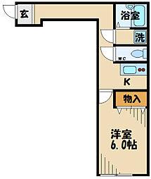 Ambition聖蹟桜ヶ丘2 2階ワンルームの間取り