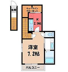 JR東北本線 宇都宮駅 バス20分 一里下車 徒歩4分の賃貸アパート 2階1Kの間取り