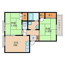 グランパス栗東B[2階]の間取り