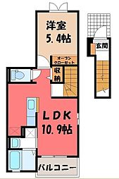 栃木県宇都宮市今宮1の賃貸アパートの間取り