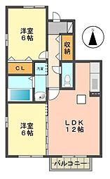 愛知県日進市藤塚4丁目の賃貸アパートの間取り