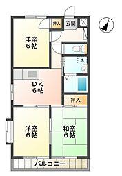 愛知県豊田市井上町2丁目の賃貸アパートの間取り