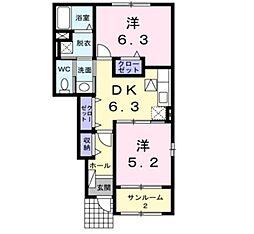 新潟県新発田市富塚町2丁目の賃貸アパートの間取り