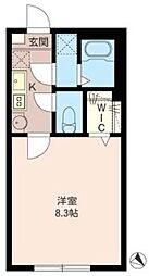 T-net サンライズ久米川 2階1Kの間取り