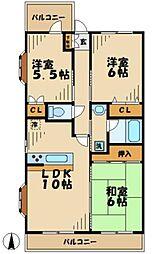 鶴牧ガーデンズ[4階]の間取り