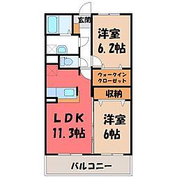 栃木県真岡市長田の賃貸マンションの間取り