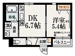 香風 B 2階1DKの間取り