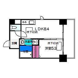トリニティ・コート新金岡 5階1LDKの間取り