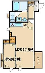 レミーナ 1階1LDKの間取り