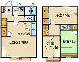 JR南武線 西府駅 徒歩13分の賃貸テラスハウス 2階3LDKの間取り