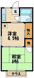 小田急小田原線 小田急相模原駅 徒歩9分の賃貸アパート 1階2Kの間取り