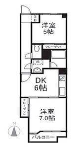 間取り,2DK,面積45m2,賃料6.5万円,JR埼京線 武蔵浦和駅 徒歩17分,JR武蔵野線 西浦和駅 徒歩21分,埼玉県さいたま市南区曲本4丁目