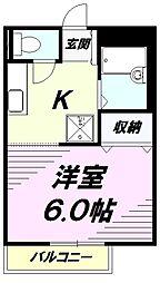JR中央線 高尾駅 徒歩5分の賃貸アパート 2階1Kの間取り