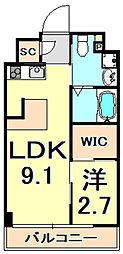 阪神本線 芦屋駅 徒歩9分の賃貸マンション 3階1LDKの間取り