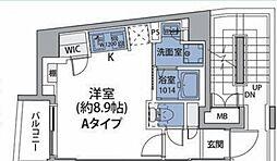 JR中央線 中野駅 徒歩8分の賃貸マンション 6階ワンルームの間取り