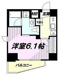 JR中央線 立川駅 徒歩10分の賃貸マンション 4階1Kの間取り