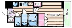 おおさか東線 JR淡路駅 徒歩6分の賃貸マンション 6階1Kの間取り