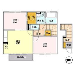 埼玉県三郷市新和3丁目の賃貸アパートの間取り