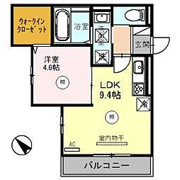 南海線 泉大津駅 徒歩5分の賃貸アパート 3階1LDKの間取り