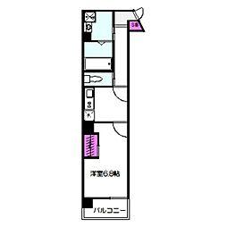THE SENSE MIYAKOJIMA 6階1Kの間取り