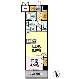 豊橋鉄道東田本線 札木駅 徒歩7分の賃貸マンション 3階1LDKの間取り