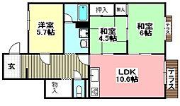 レジデンス吉川2号棟 1階3LDKの間取り