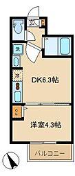 SUNNY HILL COURT中野坂上 1階1DKの間取り