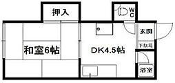 第三渡辺コーポ[203号室]の間取り