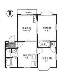 神奈川県横浜市都筑区南山田3丁目の賃貸アパートの間取り