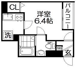 モダンアパートメント枚方上之町 2階1Kの間取り
